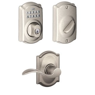 Schlage Be365cam619 Keypad Deadbolt W/ Accent Passage Lever In Satin Nickel