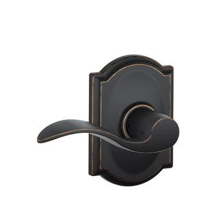Camelot Trim with Accent Hall and Closet Lever, Aged Bronze F10ACC716CAM