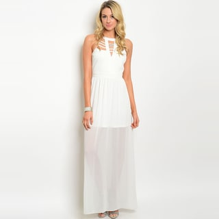 Shop The Trends Women's Sleeveless Chiffon Maxi Dress with Detailed Keyhole Openings