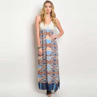 Shop The Trends Women's Rayon Sleeveless Halter-neckline Crochet Lace Top Maxi Dress