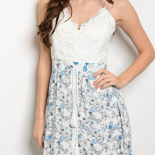 Shop The Trends Women's Spaghetti Strap Maxi Dress with Crochet Lace Top and Floral Printed Bottom