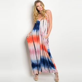 Shop the Trends Women's Tie Dye Print Spaghetti Strap Maxi Dress