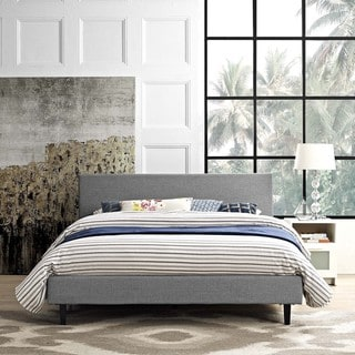 Shop Modway Camille Grey Fabric Platform Bed On Sale