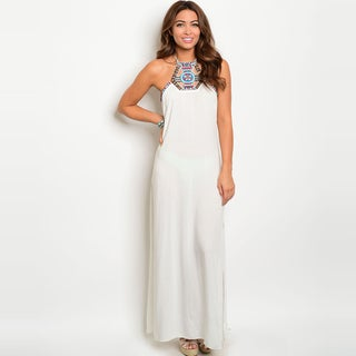 Shop The Trends Women's White Rayon Sleeveless Halter Maxi Dress