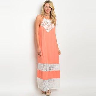 Shop the Trends Women's Orange Rayon Spaghetti Strap Lace Maxi Dress