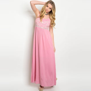 Shop the Trends Women's Pink Rayon Spaghetti Strap Embroidered Maxi Dress