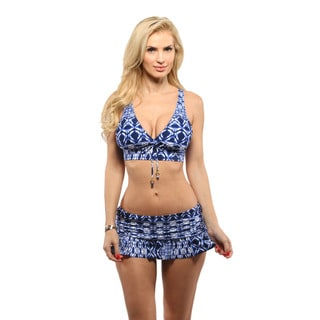 La Blanca Berry Blue Tangier Tile Cross Back Midkini Top with Ruffle Skirted Hipster Bottom