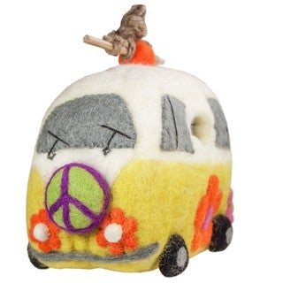 Handmade Wild Woolies Felt Magic Bus Birdhouse (Nepal)