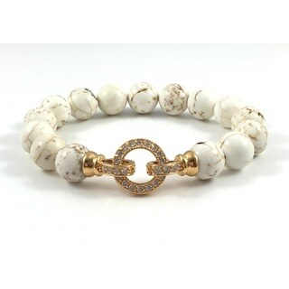 Howlite Beaded Bracelet with Gold CZ Clasp