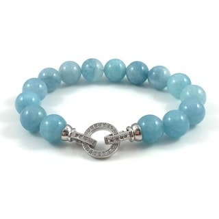 Aquamarine Beaded Bracelet with Silver Cubic Zirconia Clasp