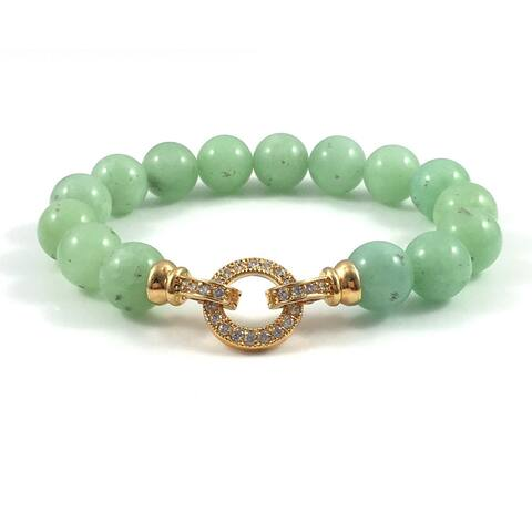 Rebecca Cherry Burmese Jade Beaded Bracelet with Gold Cubic Zirconia Clasp