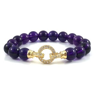 Amethyst Beaded Bracelet with Gold CZ Clasp