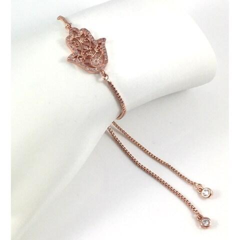 Handmade Rebecca Cherry Rose Gold Plated Pave Cubic Zirconia Hamsa Charm Slider Bracelet (United States)