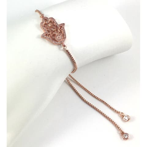Rebecca Cherry Rose Gold Plated Pave Cubic Zirconia Hamsa Charm Slider Bracelet
