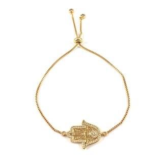 Gold Plated Pave Cubic Zirconia Hamsa Slider Bracelet