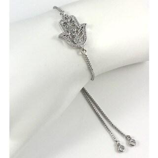 Handmade Rebecca Cherry Silver Plated Pave Hamsa Slider Bracelet (United States)