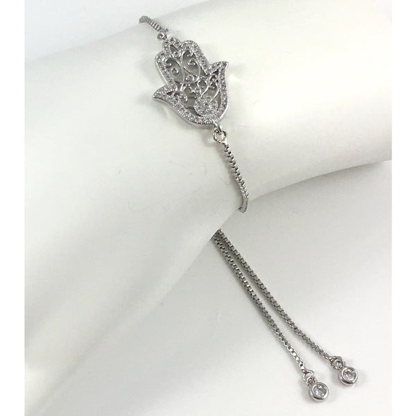 Rebecca Cherry Silver Plated Pave Hamsa Slider Bracelet
