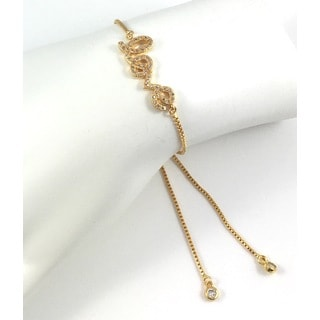 Gold Plated Pave 'Love' Slider Bracelet