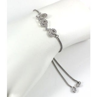 Silver Plated Pave 'Love' Slider Bracelet