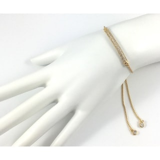 Gold Pave Bar Slider Bracelet (California)