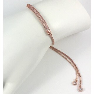 Rebecca Cherry Rose Gold Plated Pave Bar Slider Bracelet
