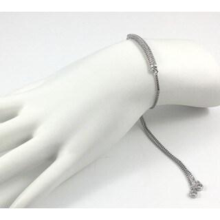 Rebecca Cherry Silver Pave Bar Slider Bracelet