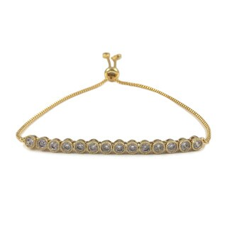 Gold CZ Tennis Slider Bracelet