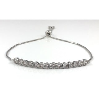 Silver CZ Tennis Slider Bracelet (California)