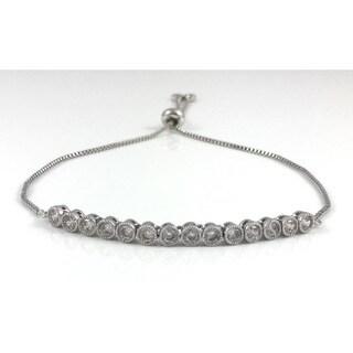 Handmade Rebecca Cherry Silver CZ Tennis Slider Bracelet (United States)
