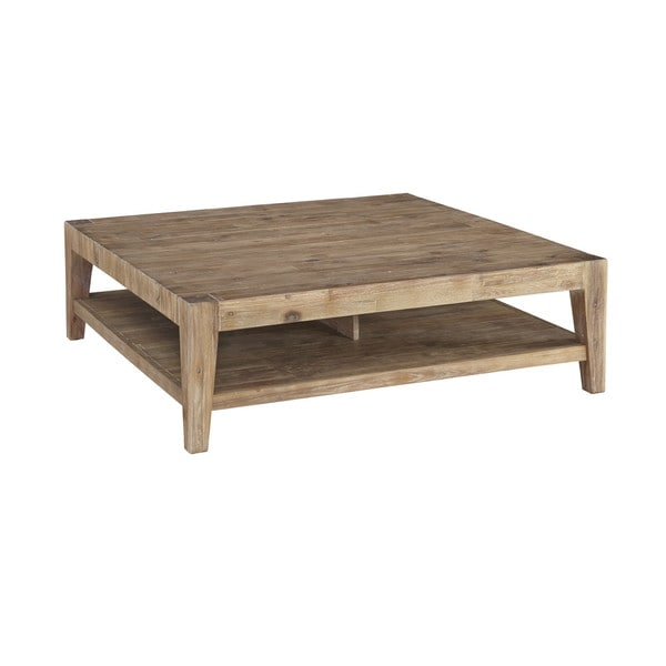 Contemporary Weathered Tyler Acacia Square Coffee Table