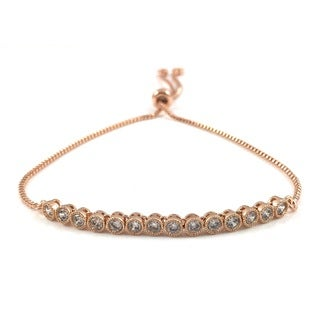 Rose Gold Cubic Zirconia Tennis Slider Bracelet