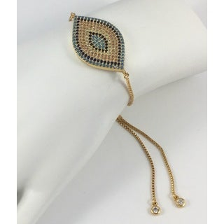 Gold Plated Pave Evil Eye Slider Bracelet