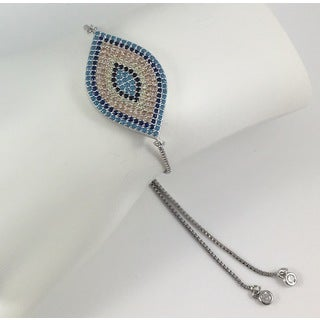 Silver Pave Evil Eye Slider Bracelet