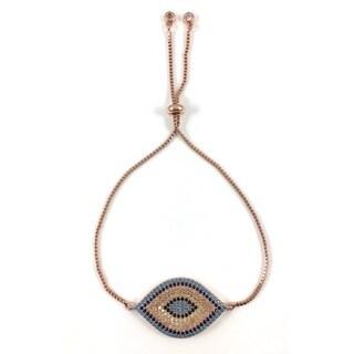 Rose Gold Pave Evil Eye Slider Bracelet (California)