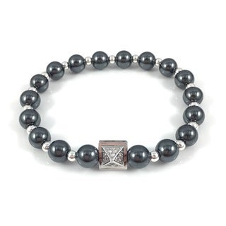 Men's Hematite Pave Pyramid Beaded Bracelet