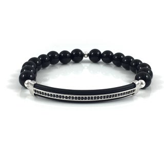Men's Hematite Pave Bar Beaded Bracelet