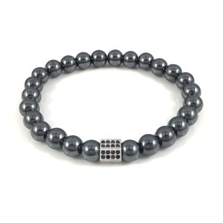 Men's Hematite Pave Hexagon Beaded Bracelet