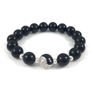 Men's Onyx Pave Yin Yang Beaded Bracelet