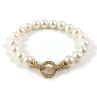 Pearl Bracelet with Gold Pave CZ Clasp