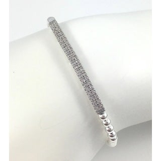 Rebecca Cherry Sterling Silver Cubic Zirconia Pave Bar Beaded Stretch Bracelet
