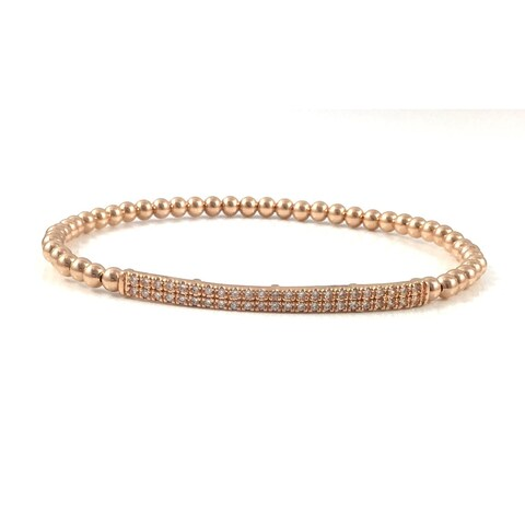 Handmade Rebecca Cherry Gold Pave Bar Beaded Stretch Bracelet (United States)