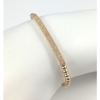 Gold Pave Bar Beaded Stretch Bracelet
