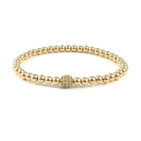 Hand Made Rebecca Cherry Gold Pave Bead Stretch Bracelet