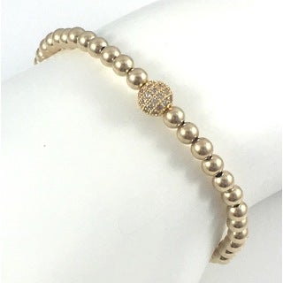 Gold Pave Bead Stretch Bracelet