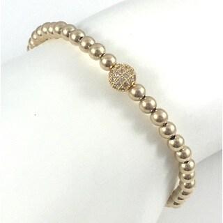 Hand Made Rebecca Cherry Gold Pave Bead Stretch Bracelet