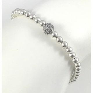 Silver Pave Bead Stretch Bracelet