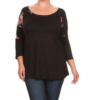 Women's Plus-size Floral Shoulder Black Rayon, Spandex Tunic