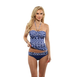 La Blanca Tangier Tile Bandini Swim Top with Shirred Band Bikini Bottom