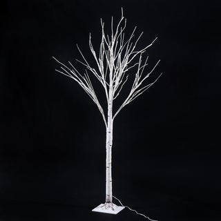 HomCom White LED Light Up 5-foot Birch Tree Holiday Decor