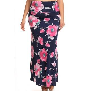 Women's Floral Navy Plus Size Maxi Skirt